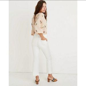 NWT Madewell Jeans White Petite Cali Demi-Boot Cut